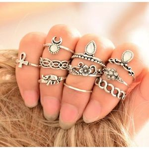 Jewelry - 10pcs Vintage Tribal Ethnic Above Knuckle Rings